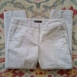 British Khaki Seersucker Cropped Pants